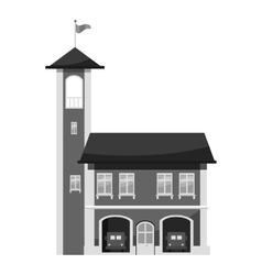 Fire station with tower icon gray monochrome style vector
