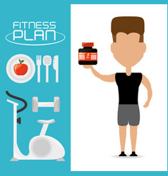 Fitness man with protein in the hand vector