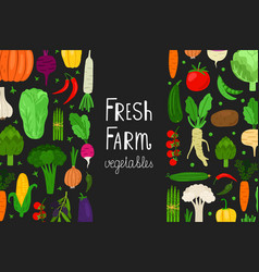 fresh menu vegetables banner template vector image