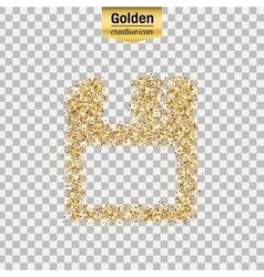 Gold glitter icon of save isolated on vector image