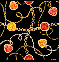 golden chains and gemstones seamless pattern vector image