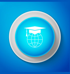 graduation cap on globe icon isolated on blue vector image