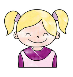 Grated girl with two tails hair design vector