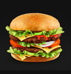 hamburger 3d realistic icon vector image