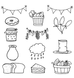 Hand draw object thanksgiving set doodles vector image