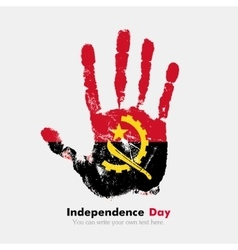 Handprint with the flag of Angola in grunge style vector
