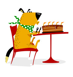 happy birthday for dog joyful dog sits at a table vector image