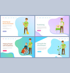 Helping people with disabilities and fundraising vector