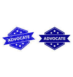 Hexagonal advocate stamp with distress surface vector