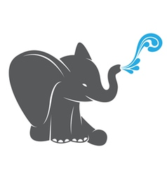 Image of an elephant spraying water vector