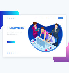 isometric concept for business teamwork and vector image
