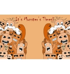 It is monster time Cartoon funny poster vector image
