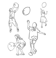 kids playing balloon line art vector image