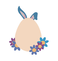 label rabbit ears and flowers vector image