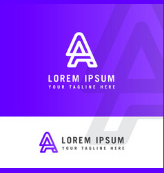 latter logo aa line minimalist abstract design vector image