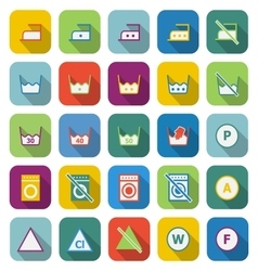 Laundry color icons with long shadow vector