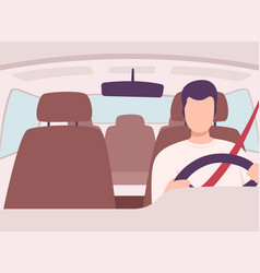 Man driving a car front view from inside vector