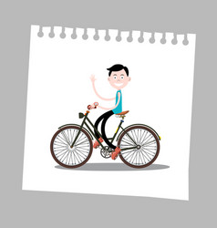 man on bicycle on paper vector image