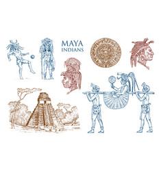 maya vintage pyramid portrait a man vector image