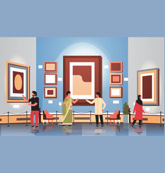 Mix race tourists viewers in modern art gallery vector
