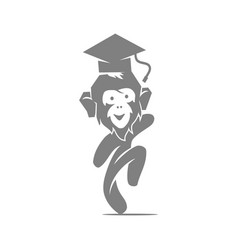 monkey hat student logo design template isolated vector image