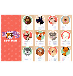 Monthly kids calendar 2018 with funny dogs vector