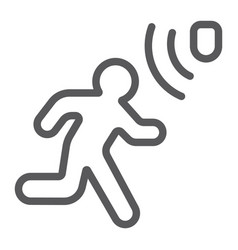 motion detection line icon security and detector vector image