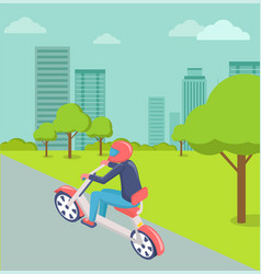 motorbike rider in city modern town cityscape vector image