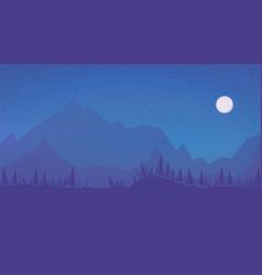 night winter cartoon landscape with starry sky vector image
