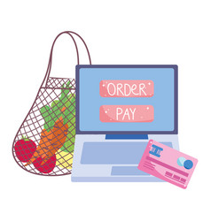 online market eco friendly bag with fruits and vector image