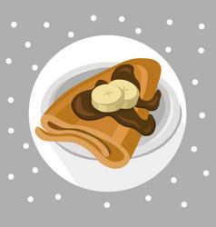 pancakes chocolate syrop and banana flavor vector image