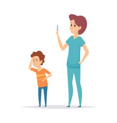 pediatrist and ill boy little child headache vector image