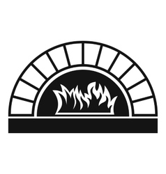 Pizza oven with fire icon simple style vector
