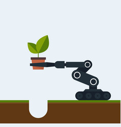 Planting tree in future concept a robot vector