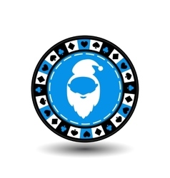 poker chip Christmas new year Santa Claus blue vector image