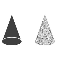 Polygonal mesh cone figure and flat icon vector