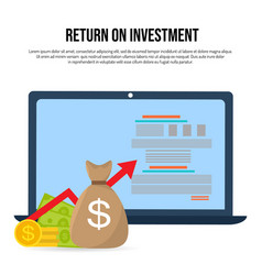 return on investment concept roi business profit vector image