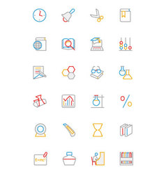 School and Education Colored line Icons 5 vector
