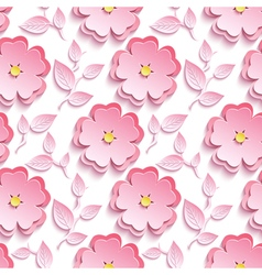 Seamless pattern with pink 3d sakura cutting paper vector