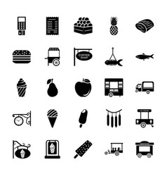 Seller solid icons pack vector