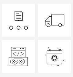 Set 4 line icon signs and symbols document vector