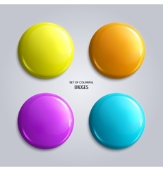 Set of blank colorful glossy badges vector