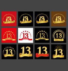 set of number thirteen 13 years celebration vector image