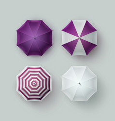 Set of white purple striped umbrella sunshade vector