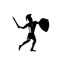Spartan warrior in the traditional helmet on his vector image