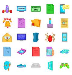 Spyware icons set cartoon style vector