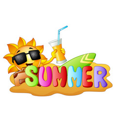 summer funny background with happy smiling sun hol vector image