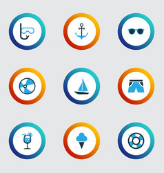 Sun colorful icons set collection of sailing vector