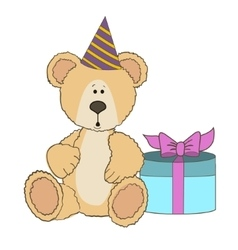 Teddy Bear is sitting with gift box vector image