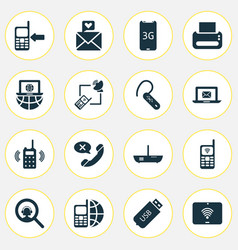 telecommunication icons set with messaging love vector image